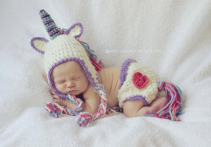 Crocheted Unicorn Hat and diaper cover set- Made to Order- Any size.   45.00 d2f51f9b3de