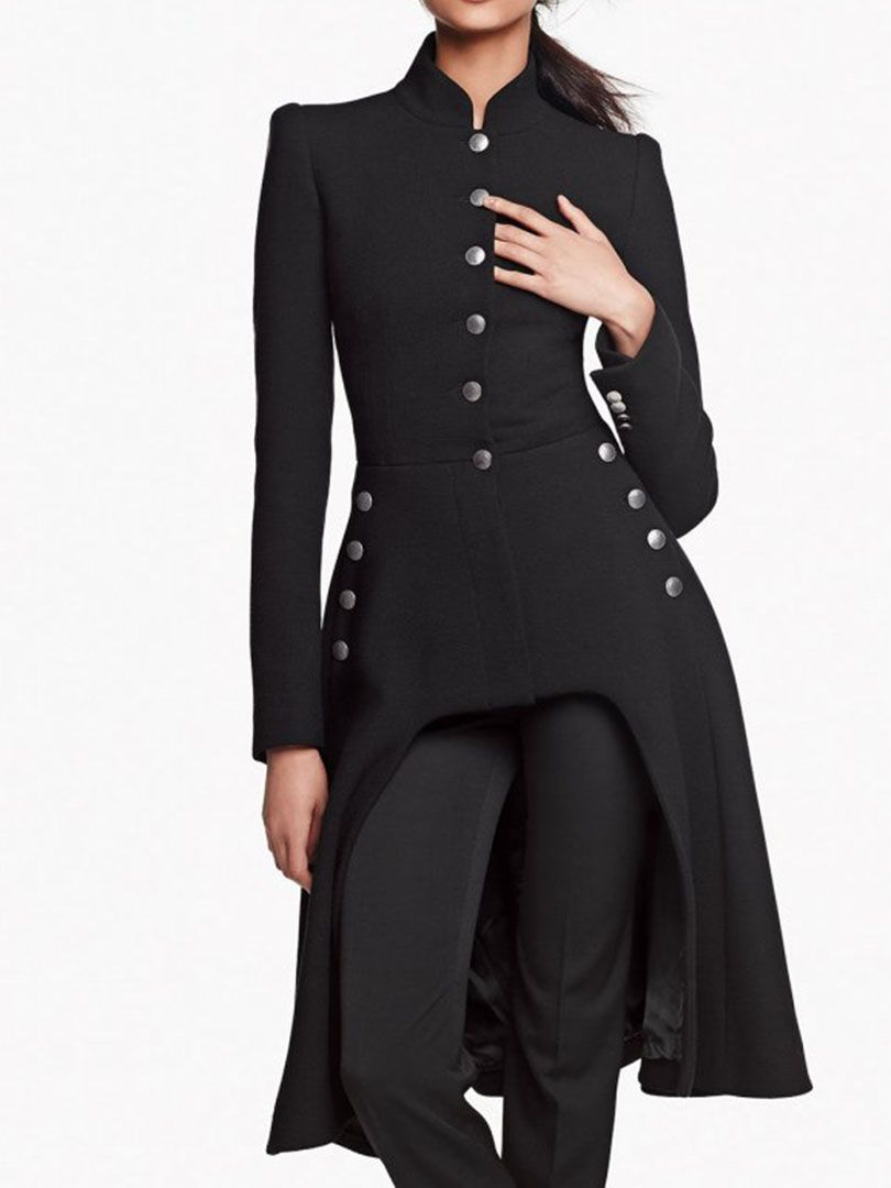 Love The Buttons Black High Low Longline Winter Coat