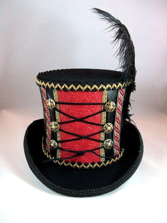 0bd13012180e Steampunk Circus, Steampunk Ringmaster, Black and Red Top Hat, Burning Man  Hat, Circus Hat, Ringmast