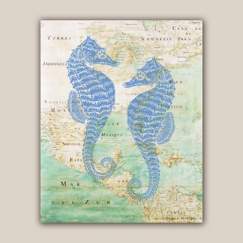 Blue Seahorses Print X Vintage Image Hippocampus Print