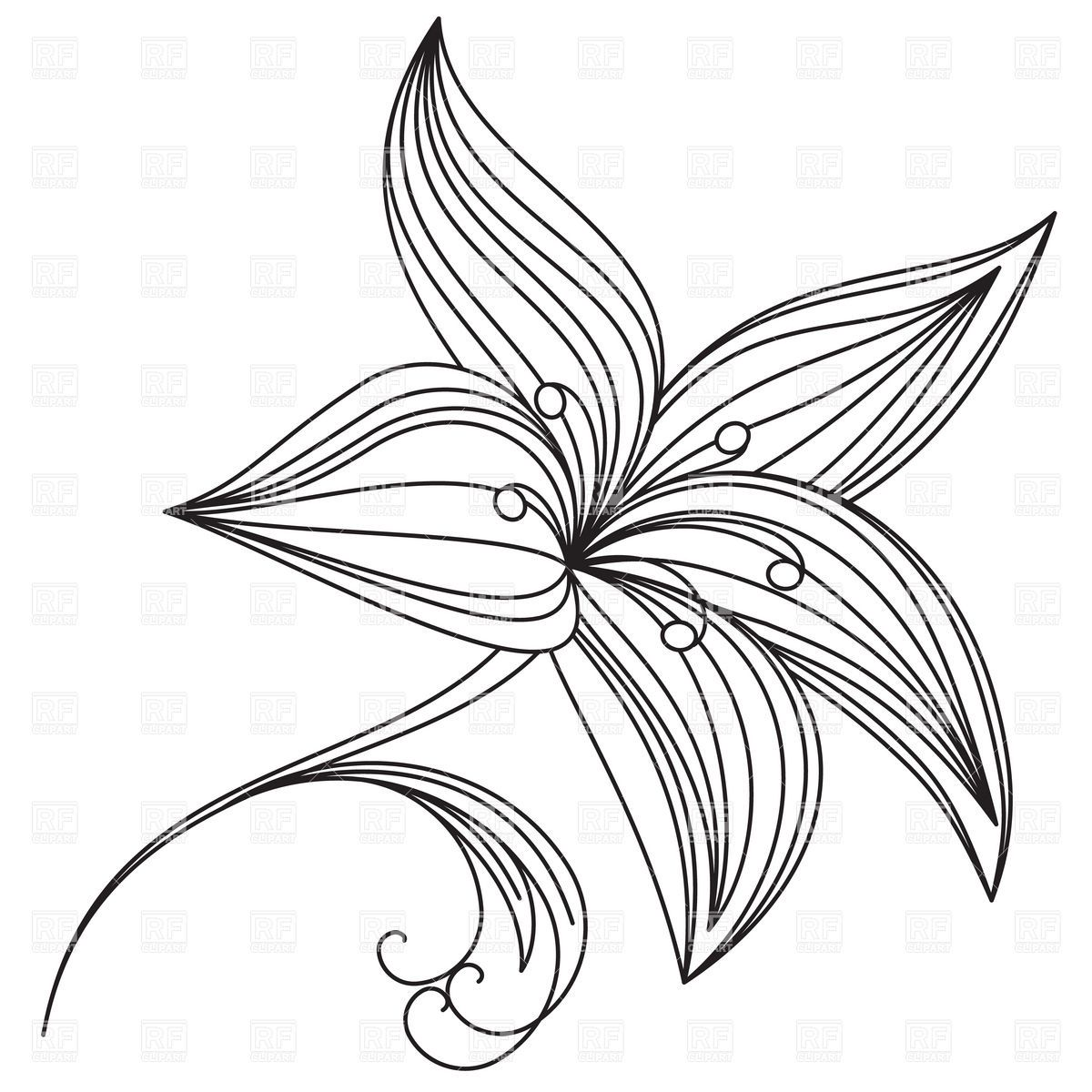 Abstract beautiful flower of lily outline Stock Vector