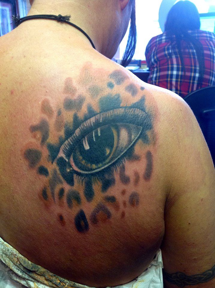 Beautiful cover up, Modznrockers, Blackpool #tattoo #coverup #freehand #custom #leopard #eye