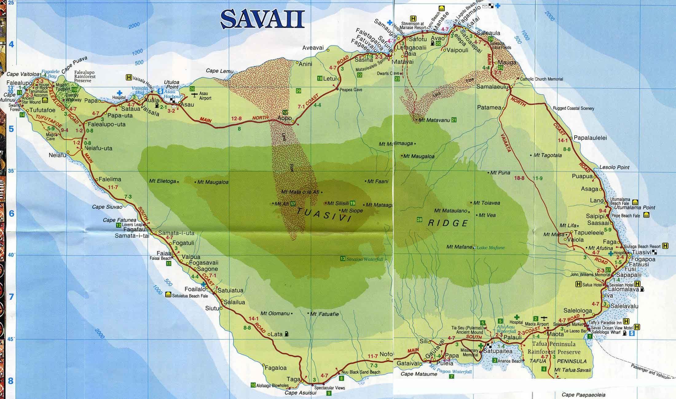 Map Of Savaii Samoa Pinterest - Map samoa