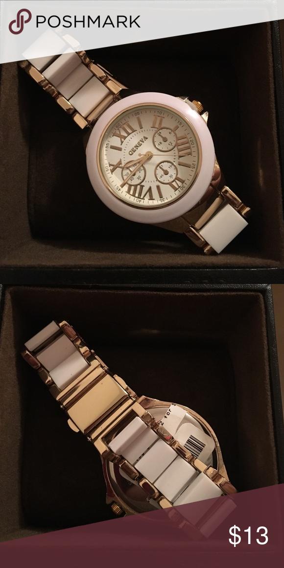 Geneva Watch White & Gold Geneva Watch Geneva Platinum Accessories Watches