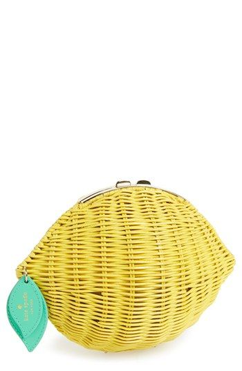 Kate Spade New York 'vita Riva' Wicker Lemon Crossbody Bag
