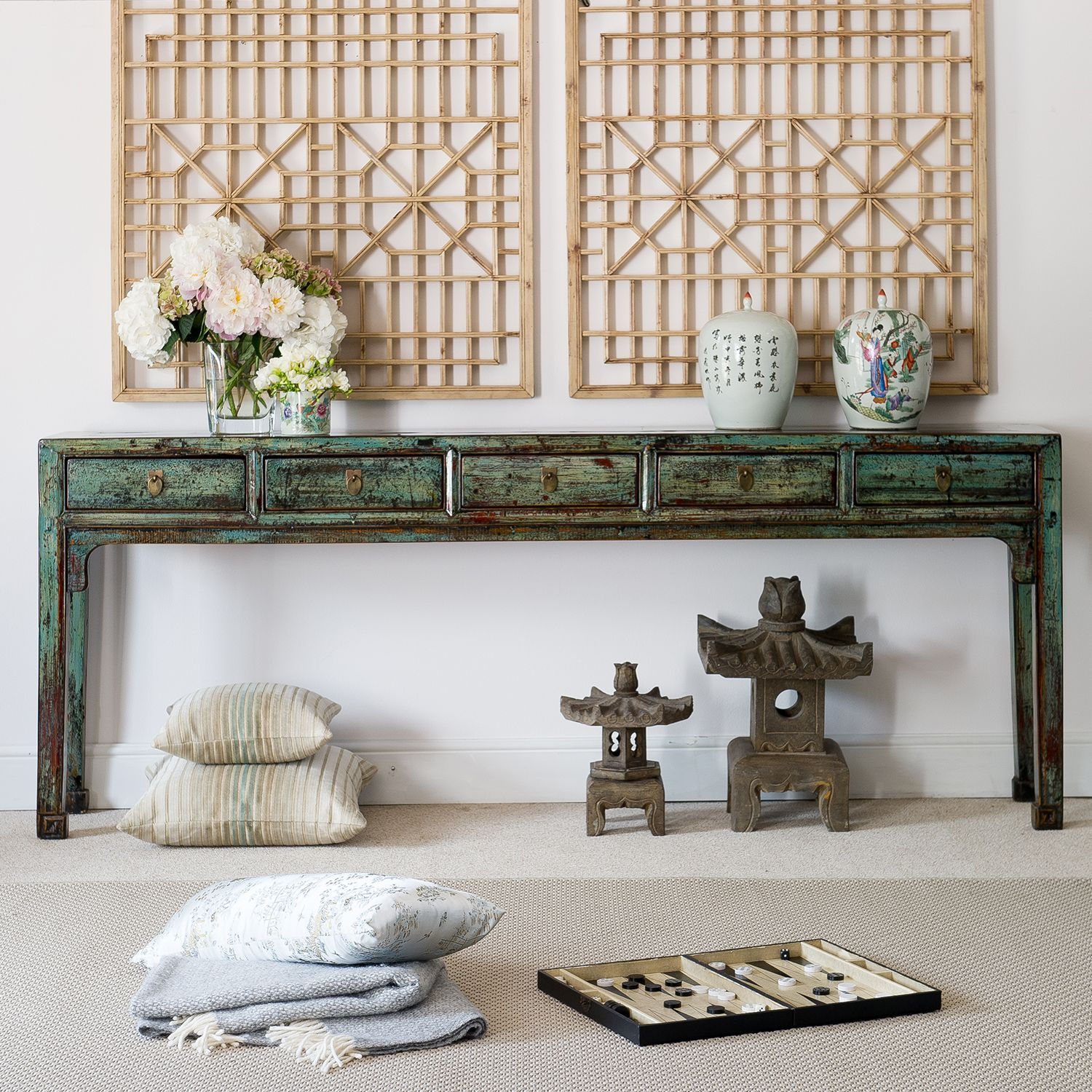 Distressed five drawer console table pretty chinese long console distressed five drawer console table pretty chinese long console table finished in a distressed geotapseo Image collections
