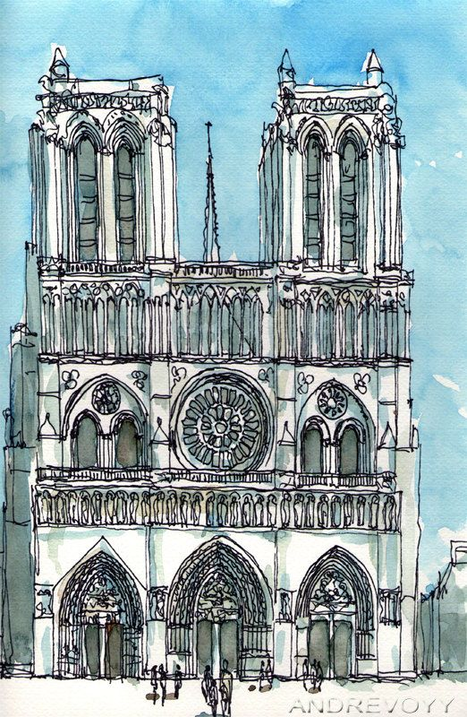Notre Dame De Paris Disegno.Paris Notre Dame Cathedral Front Art Print From An Original