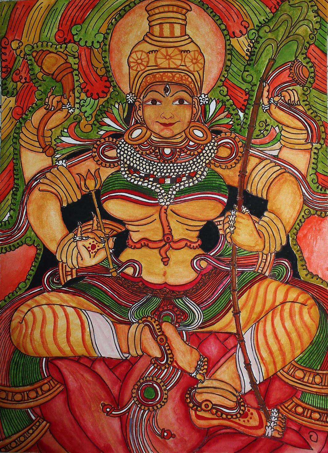 Kali as the Supreme Deity, circa 1800. Indra, Brahma, Vishnu and Shiva. Chamba, India. OM KRIM