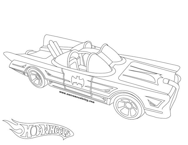 Awesome Hot Wheels 1966 Batmobile coloring page ready to