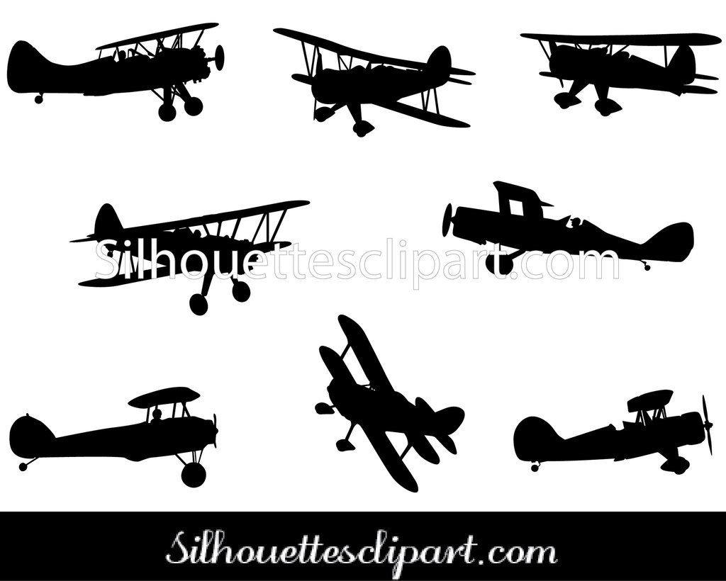 Biplane Silhouette Vector