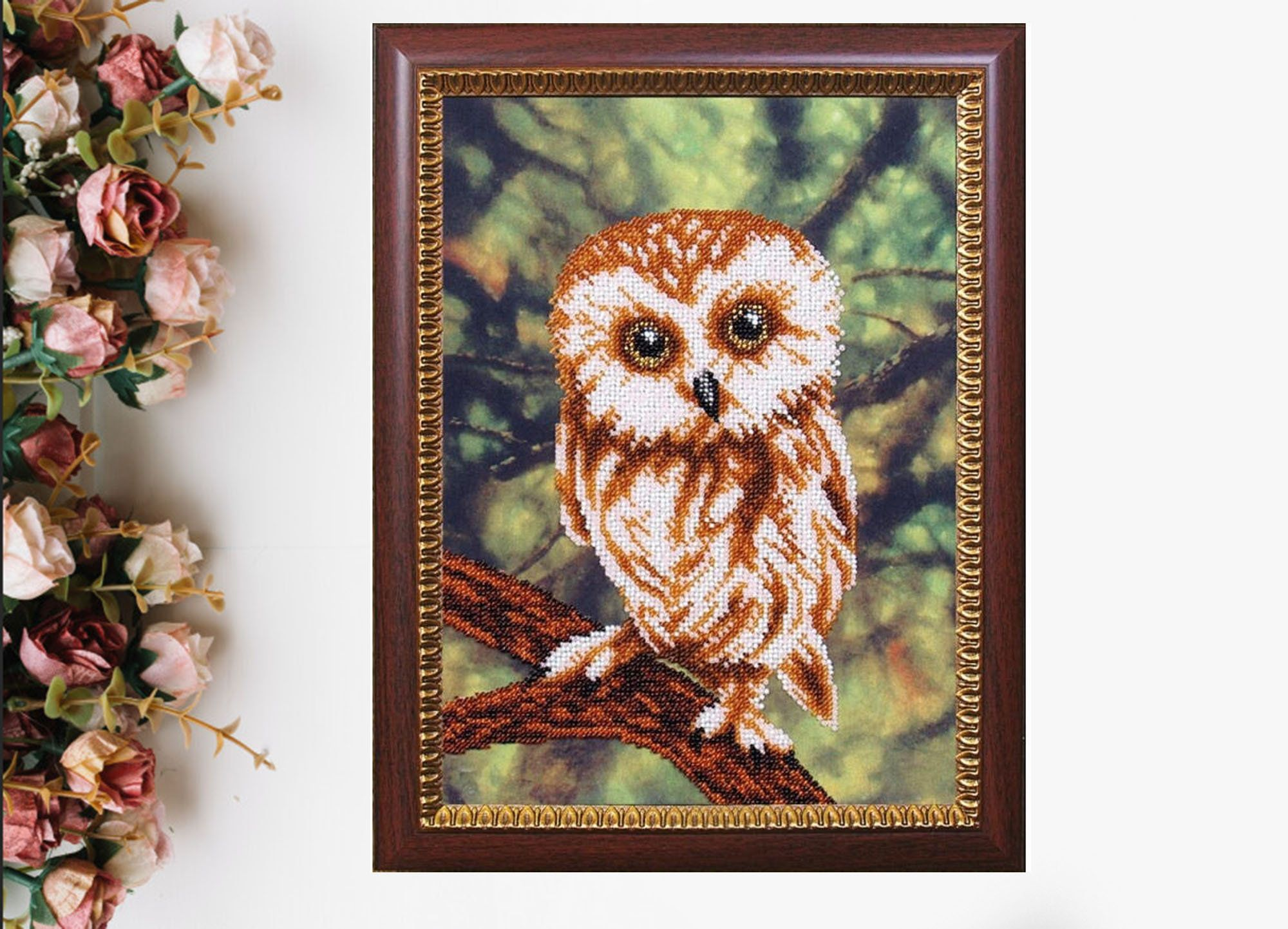 DIY full beaded coverage cross stitch embroidery Bead embroidery kit Bird and Shells