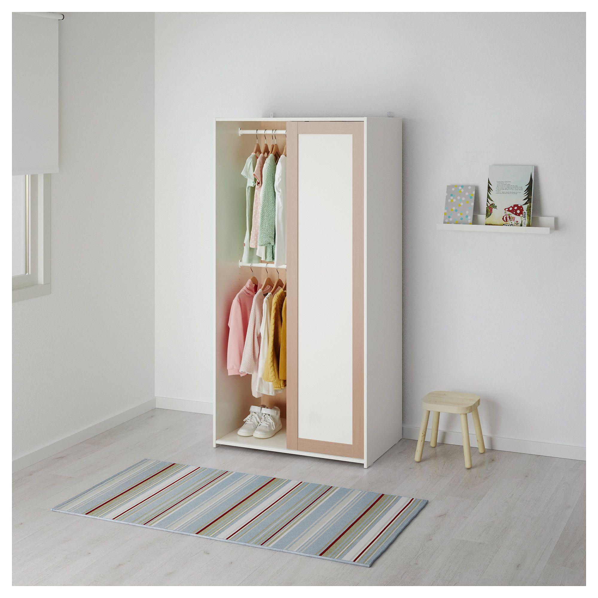 White tall Ikea kids wardrobe with 3