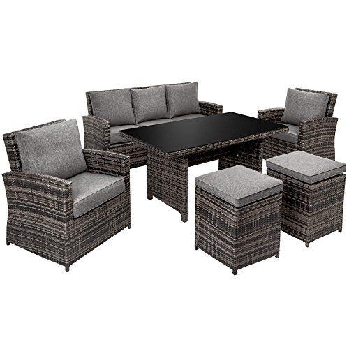 Tectake Aluminium Poly Rattan Garden Furniture Seating Dining Set 1x Table 2x Stools 2x Chairs 1x Sofa Terrace Furniture Patio Furniture Pillows Furniture