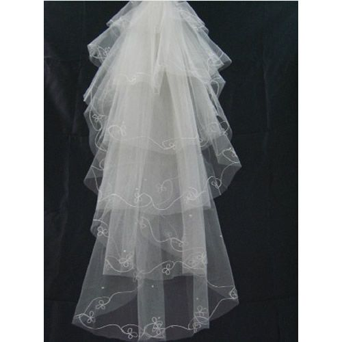 Affordable Wedding Gowns In Manila: Gorgeous White Embroidered Manila Long Layer Bridal Veils