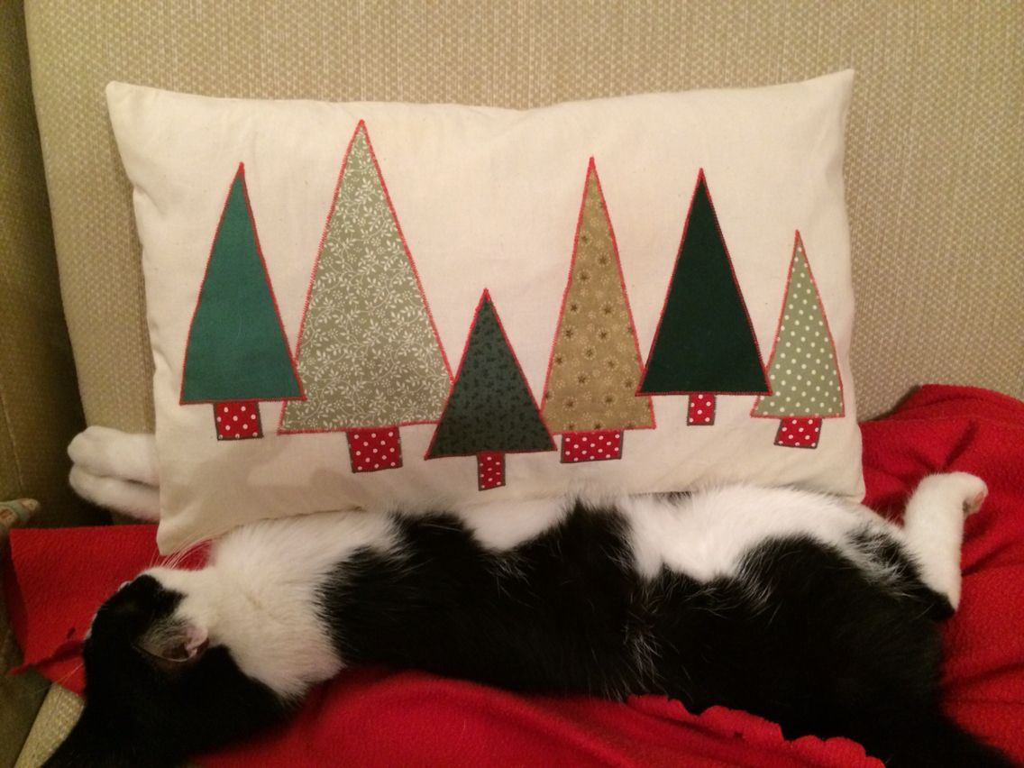 A Christmas Tree appliqued cushion made from leftover scraps of green material and calico.