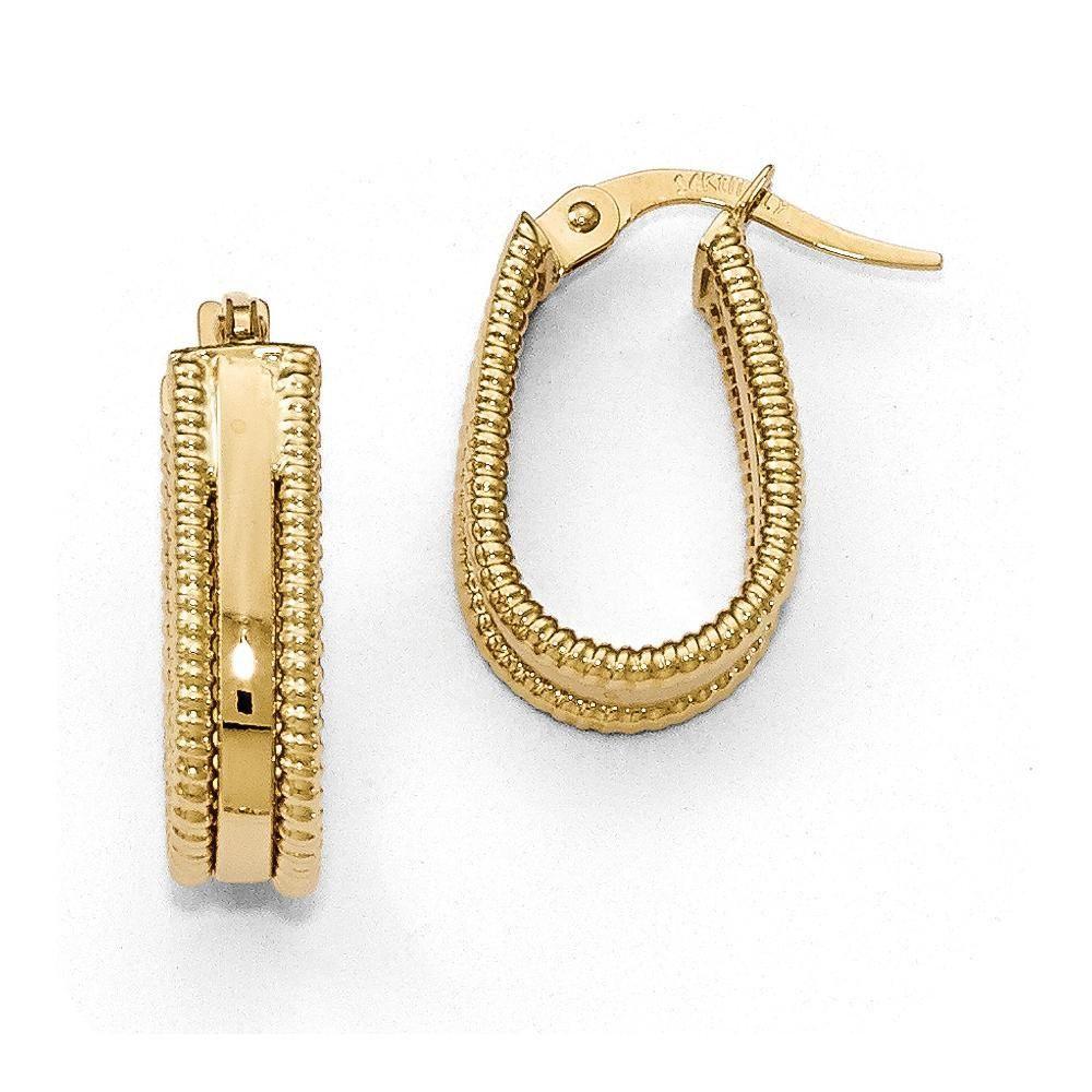 25mm Oval 3mm Twist J Half Hoop Earrings in Gold Plated Sterling Silver