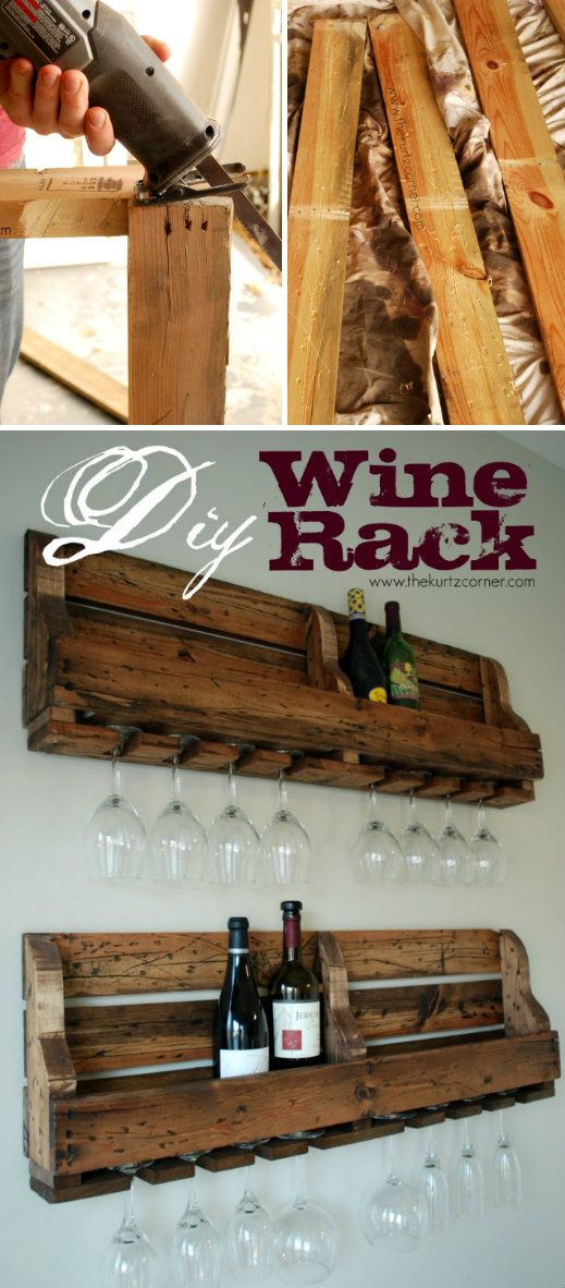 Rustic homemade wine rack pallets crates pinterest for How to make a wine rack out of pallet wood