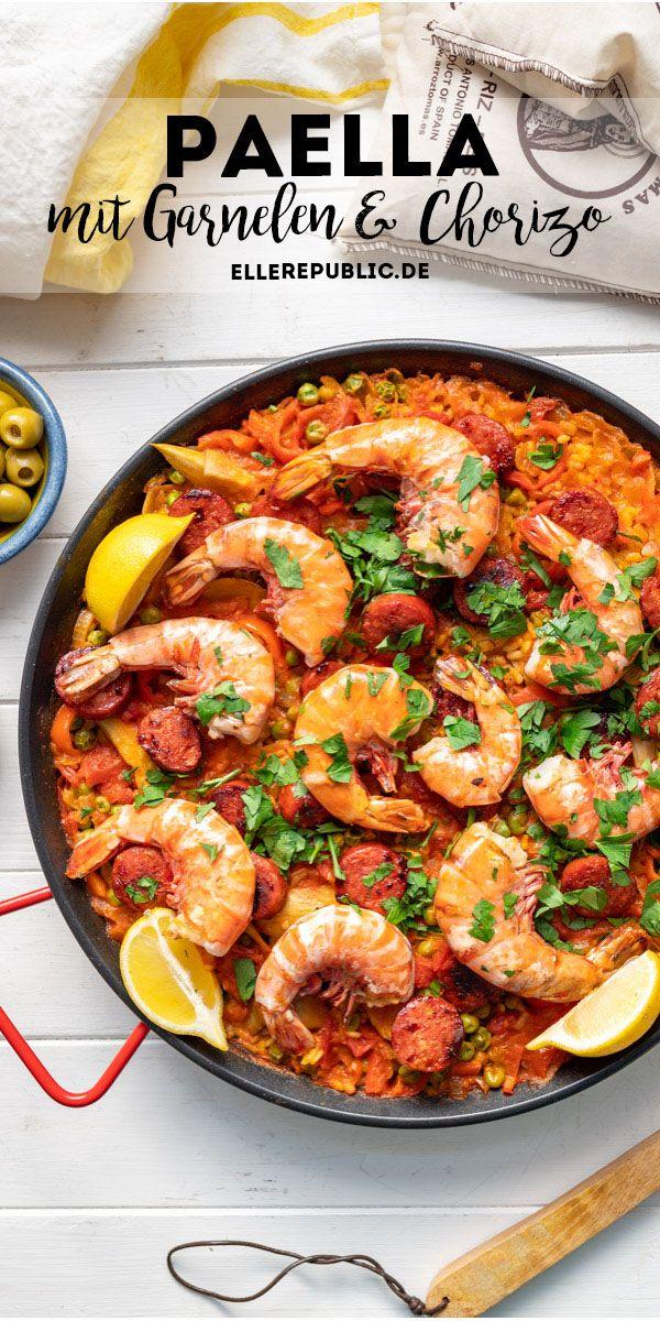 paella mit garnelen und chorizo rezept elle republic