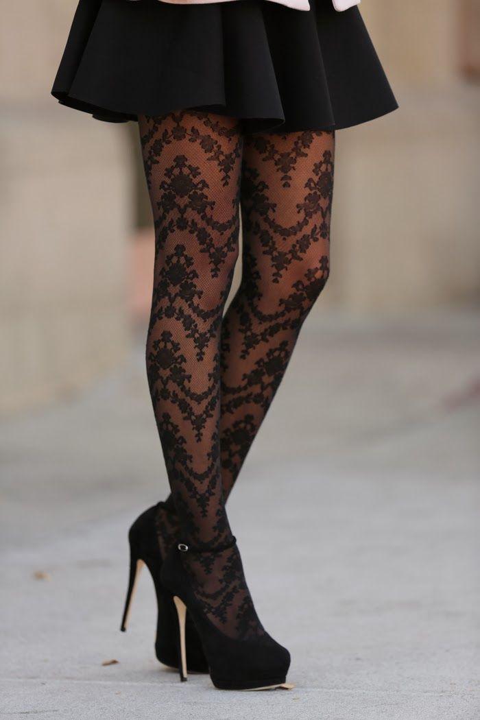 Black dress printed tights