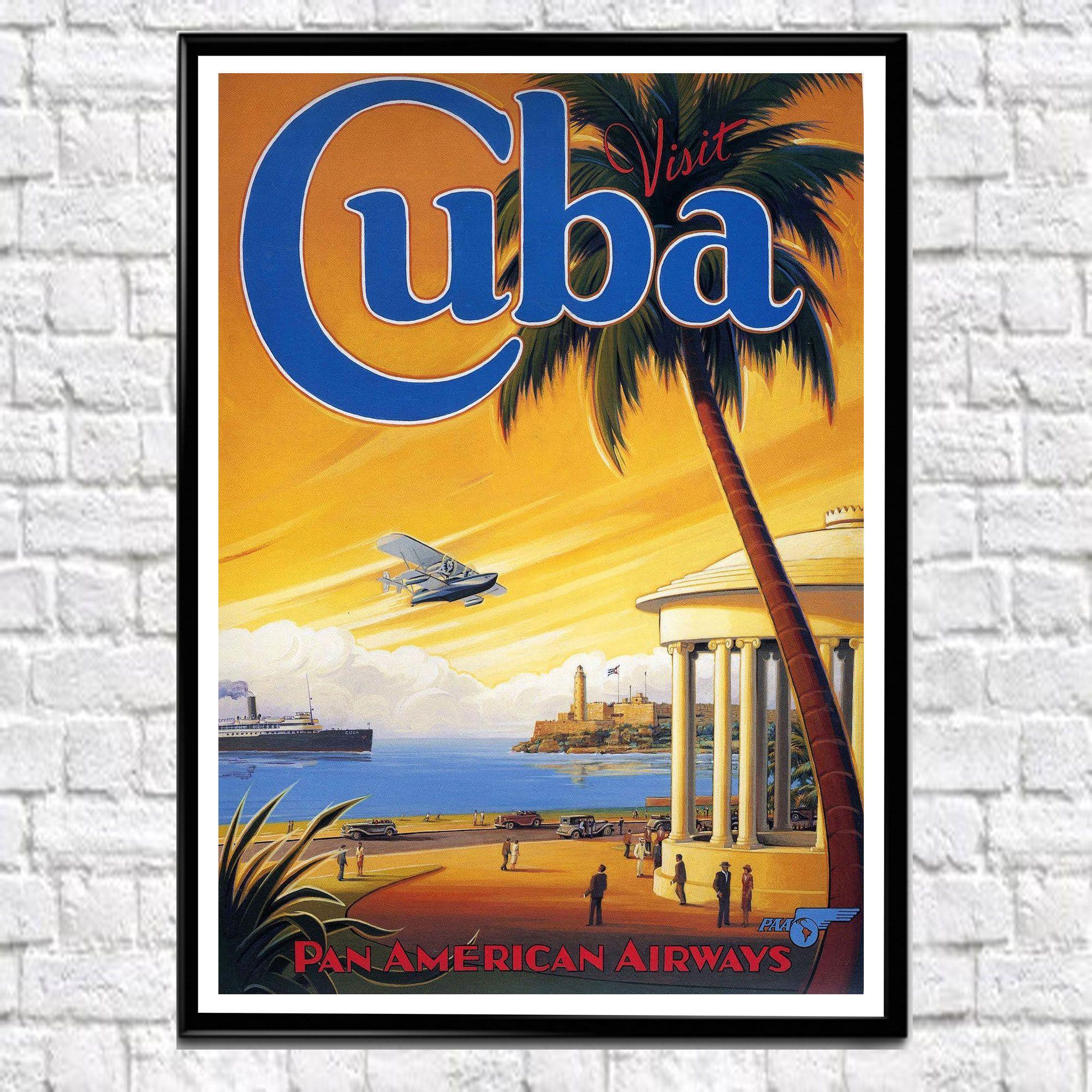 Cuba Travel Poster Vintage Airline Travel Poster Cuban Art Cuban ...