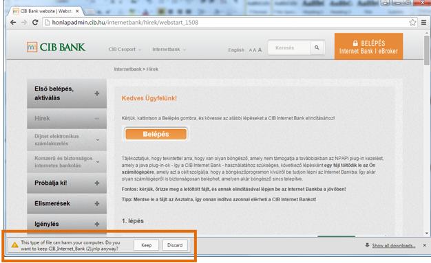 CIB Bank website   Webstart tájékoztatás