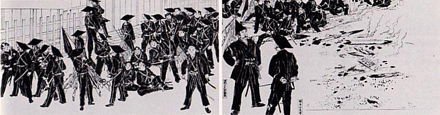 From Wikiwand: Saigō Takamori (con casco alto) inspecciona las tropas de Chōshū en Fushimi.
