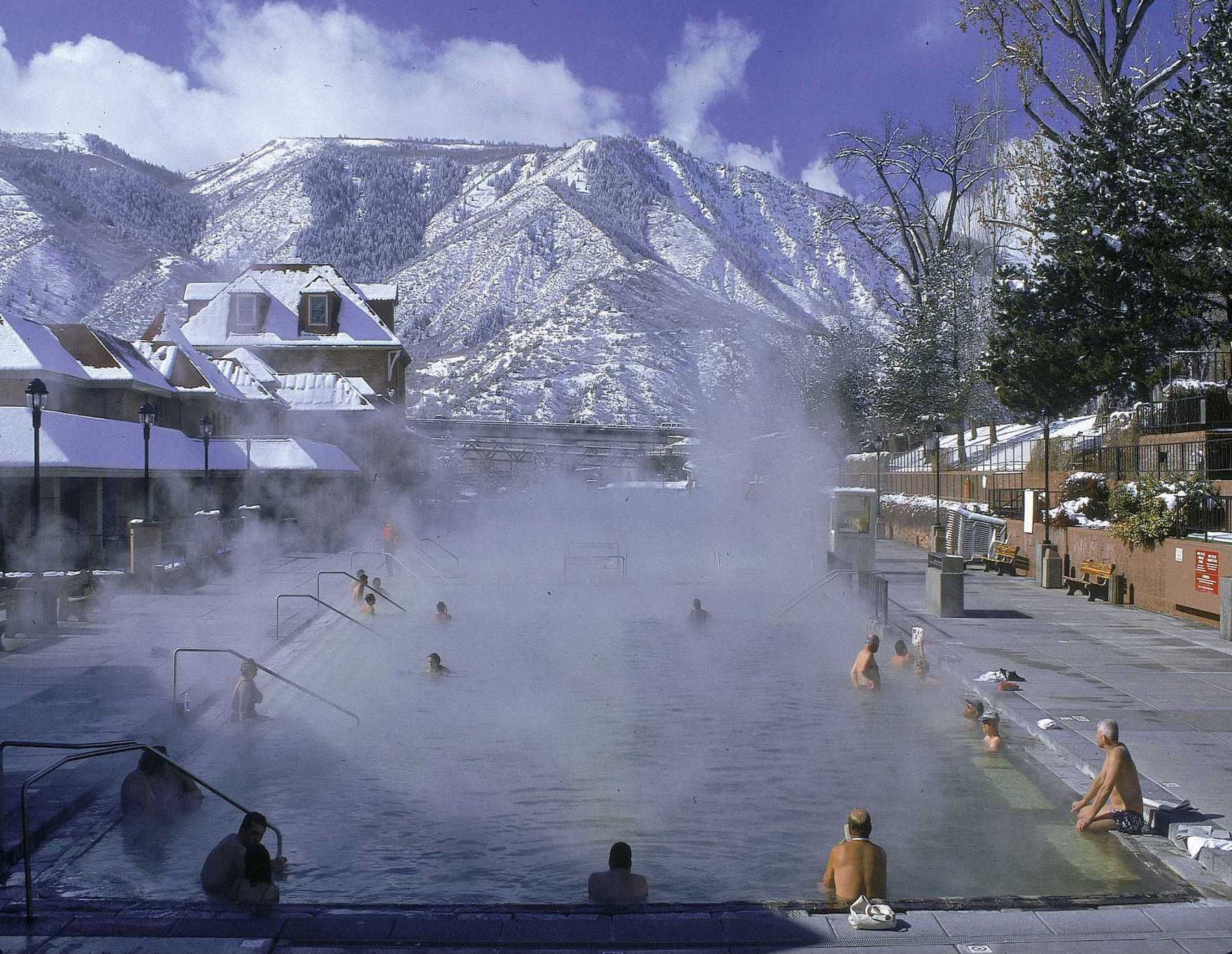 World's largest mineral hot springs pool, Glenwood Hot Springs Resort, Glenwood Springs, Colorado. As big as a football field, it also has two tube runs.