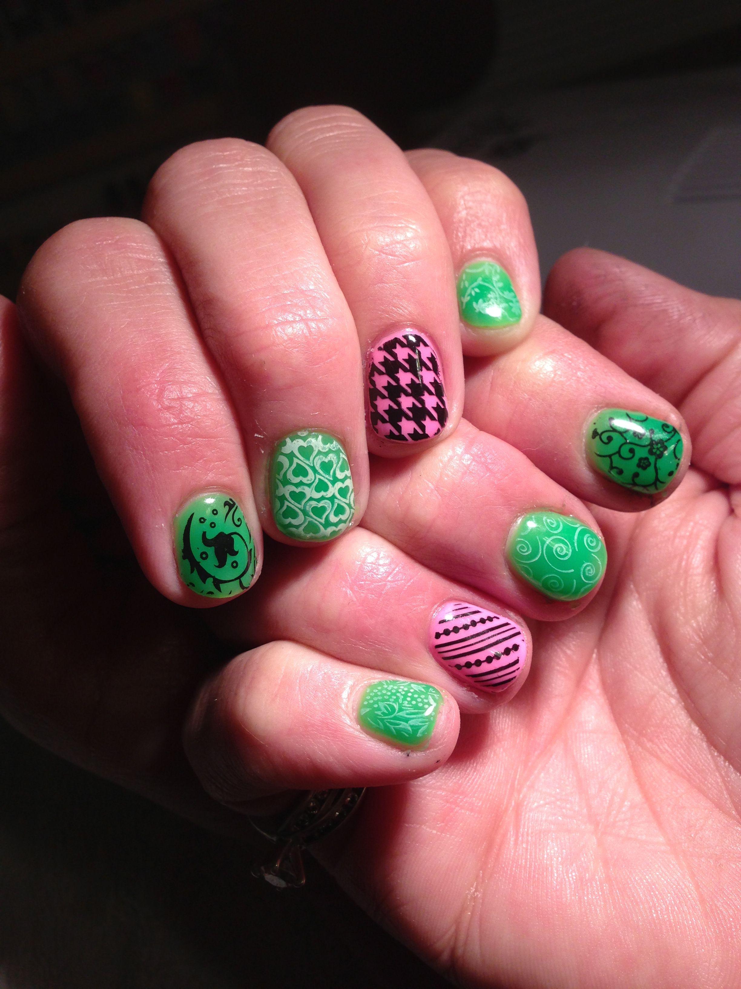 Gelish, stamp, glow in the dark Gel nails, My nails