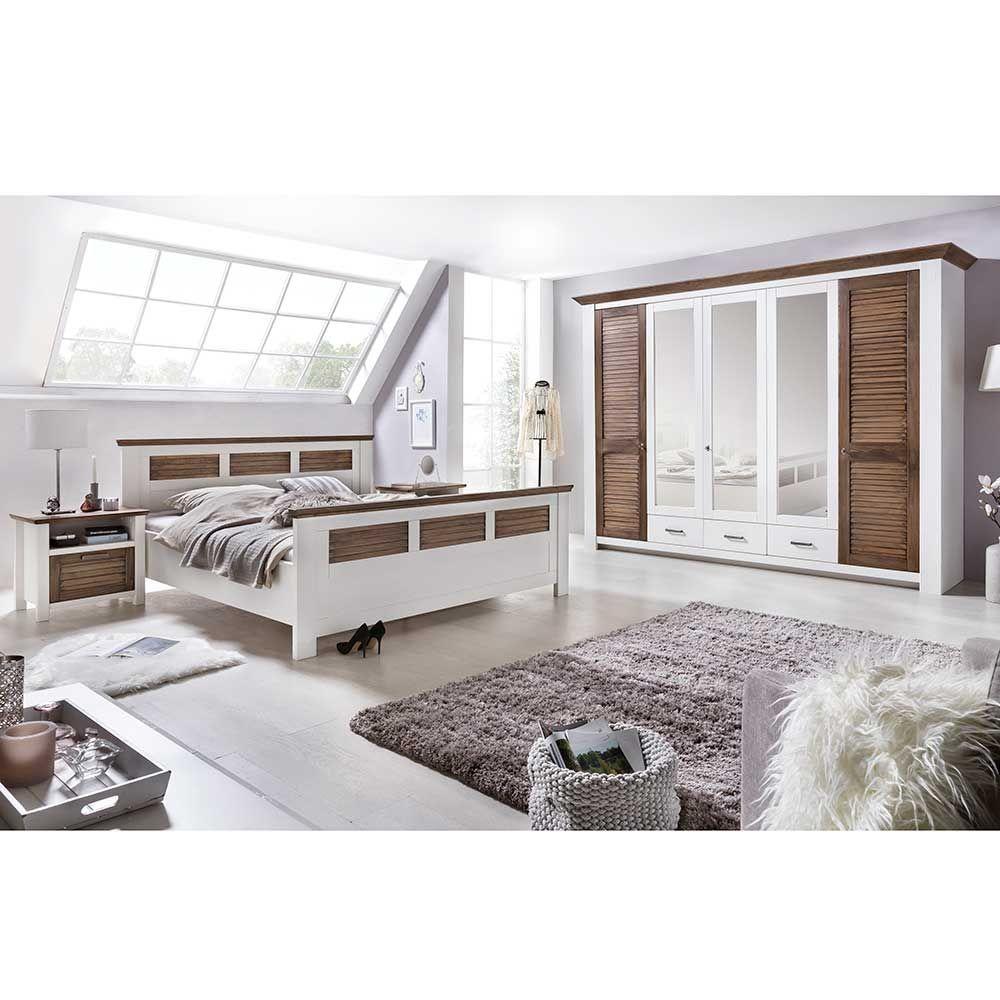 Schlafzimmer Komplettset in Weiß Kiefer Landhaus (4-teilig) Jetzt ...