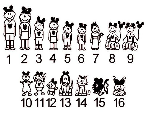 d19e251105a Disney Stick Figure Family Vehicle Van Car Decals Mickey Mouse Ears  You  Pick  on Etsy