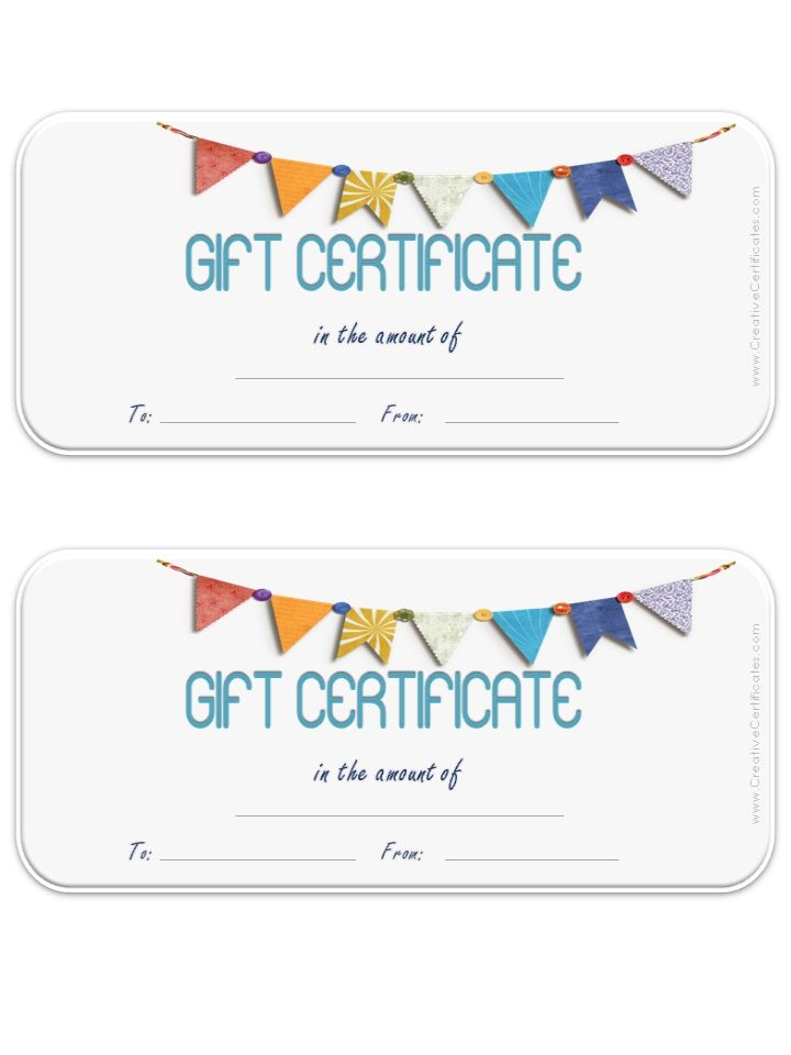 Gift Certificate Template With Colored Flag With White Background