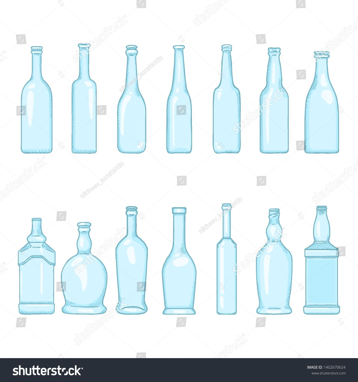 Vector Set Of Cartoon Empty Blue Glass Bottles Illustrations On Isolated White Background Ad Sponsored Empt Blue Glass Bottles Blue Glass Cartoons Vector