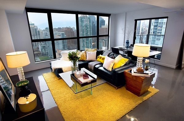 Living Room Ideas Black Furniture gray and yellow living room ideas contermporary home ideas black