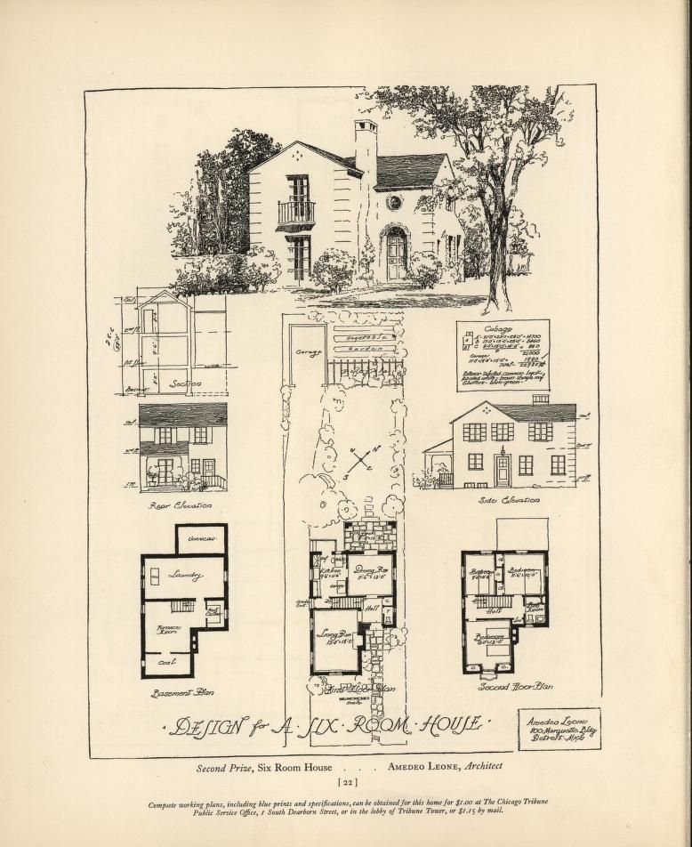 Chicago Tribune Book Of Homes Vintage House Plans Architectural House Plans Architectural Prints