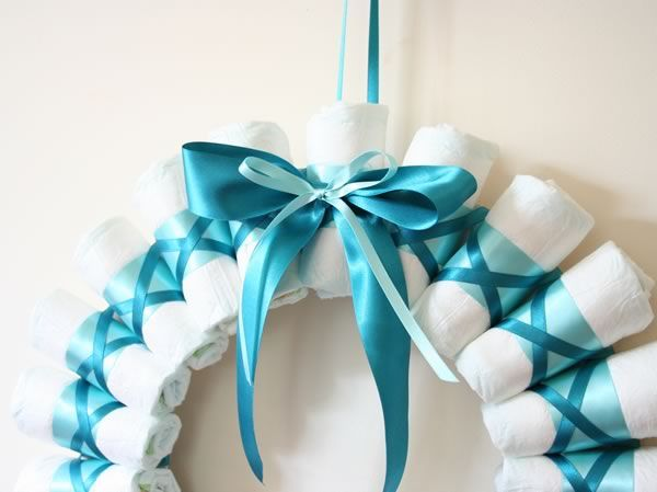 Rolled Diaper Wreath Instructions We Could Use The Pink And Blue Of