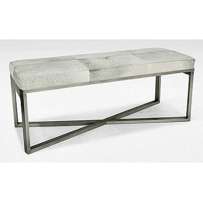 Roger Cowhide Bench Grey Cowhide Bench Cowhide Cushions Leather Bench