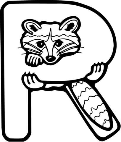 Letter R is for Raccoon coloring page from Learn English