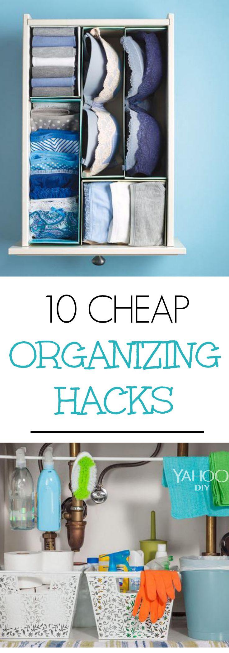 10 cheap organizing hacks diy projects pinterest amerika ordnung schaffen und geschafft. Black Bedroom Furniture Sets. Home Design Ideas