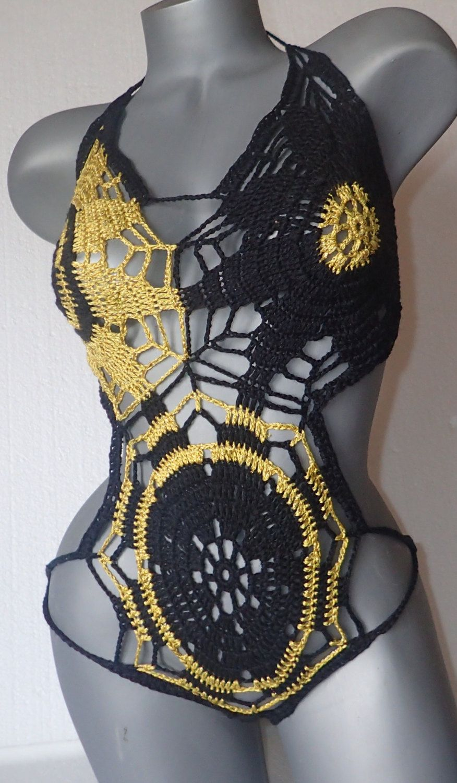 7ca79230ac665 Black-yellow crochet monokini.Swimwear for women.Cotton body.Sexy lingerie. Handmade Beachwear.Size M,L by nagualw on Etsy