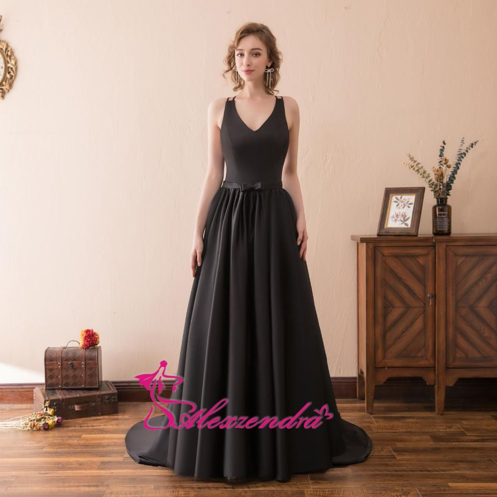 Alexzendra stock dress v neck long a line black prom dresses