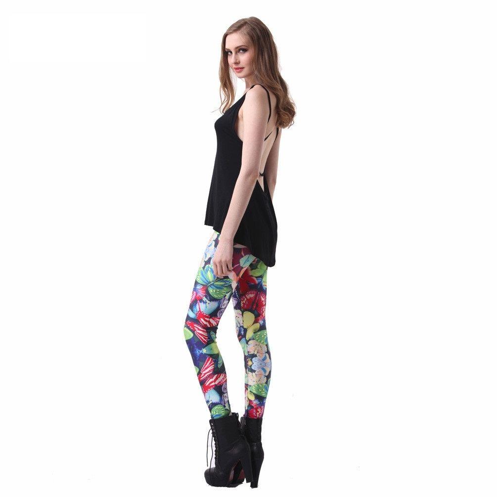 slim women's butterfly print leggings best plus size leggings for
