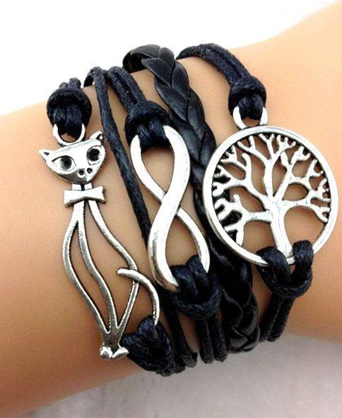 Cat Tree Leather bracelet,Vintage Silver bracelet,Leather punk Infinity bracelet,Friendship bracelet,Unisex trend bracelet