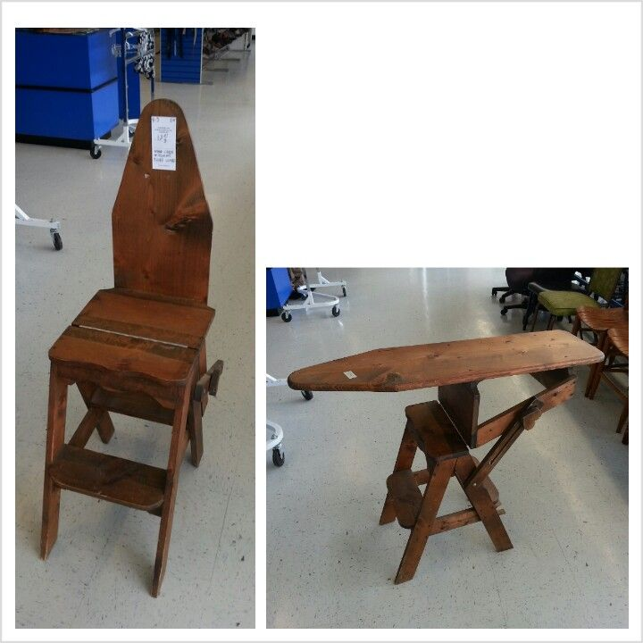 Antique chair, step stool & ironing board - Antique Chair, Step Stool & Ironing Board Antique Ironing Boards