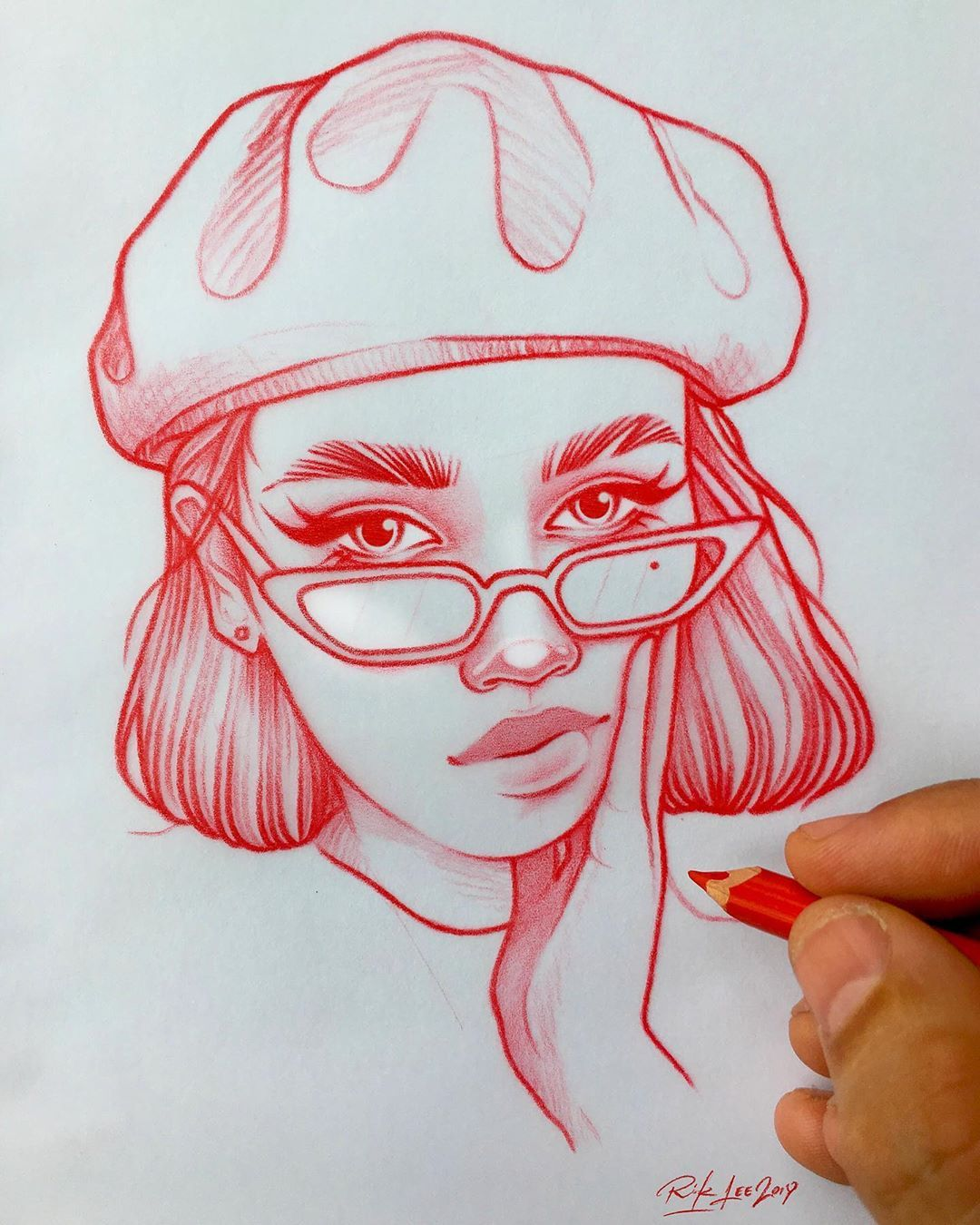 Rik Lee Sur Instagram She Wore A Raspberry Beret The Kind You Find In A Second Hand Store Or Is S Art Sketches Art Drawings Sketches Cool Art Drawings