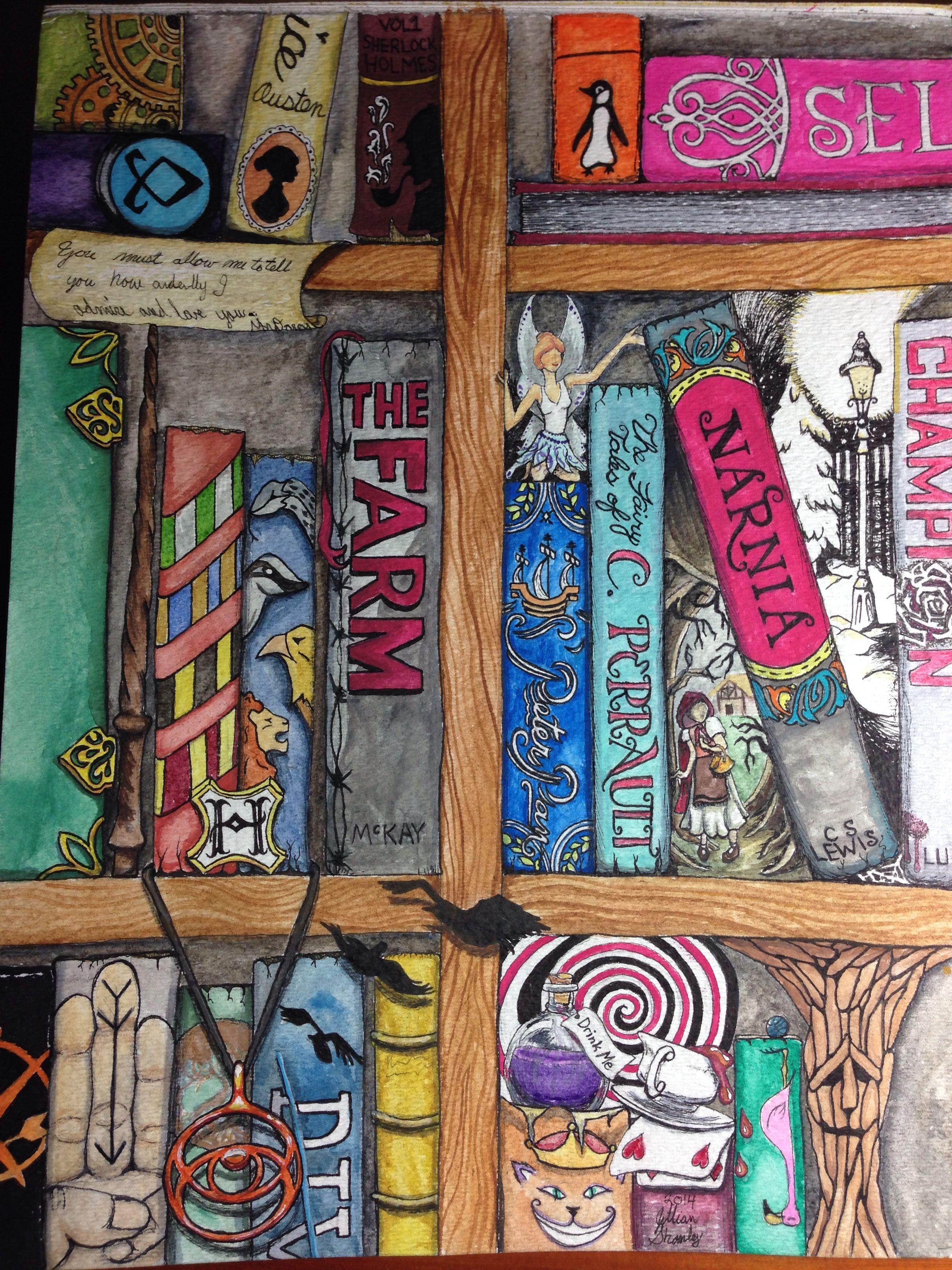 My Watercolor Fantasy Bookshelf JS
