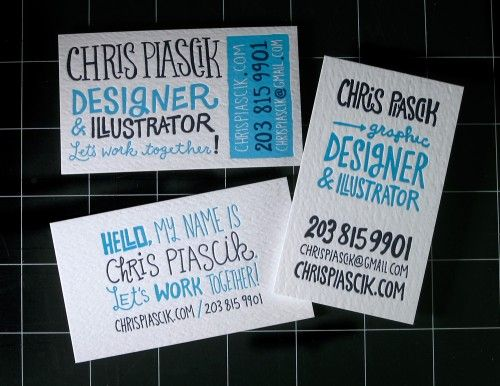 hand lettering letterpress business cards 500x386 Business Card Ideas and Inspiration #4