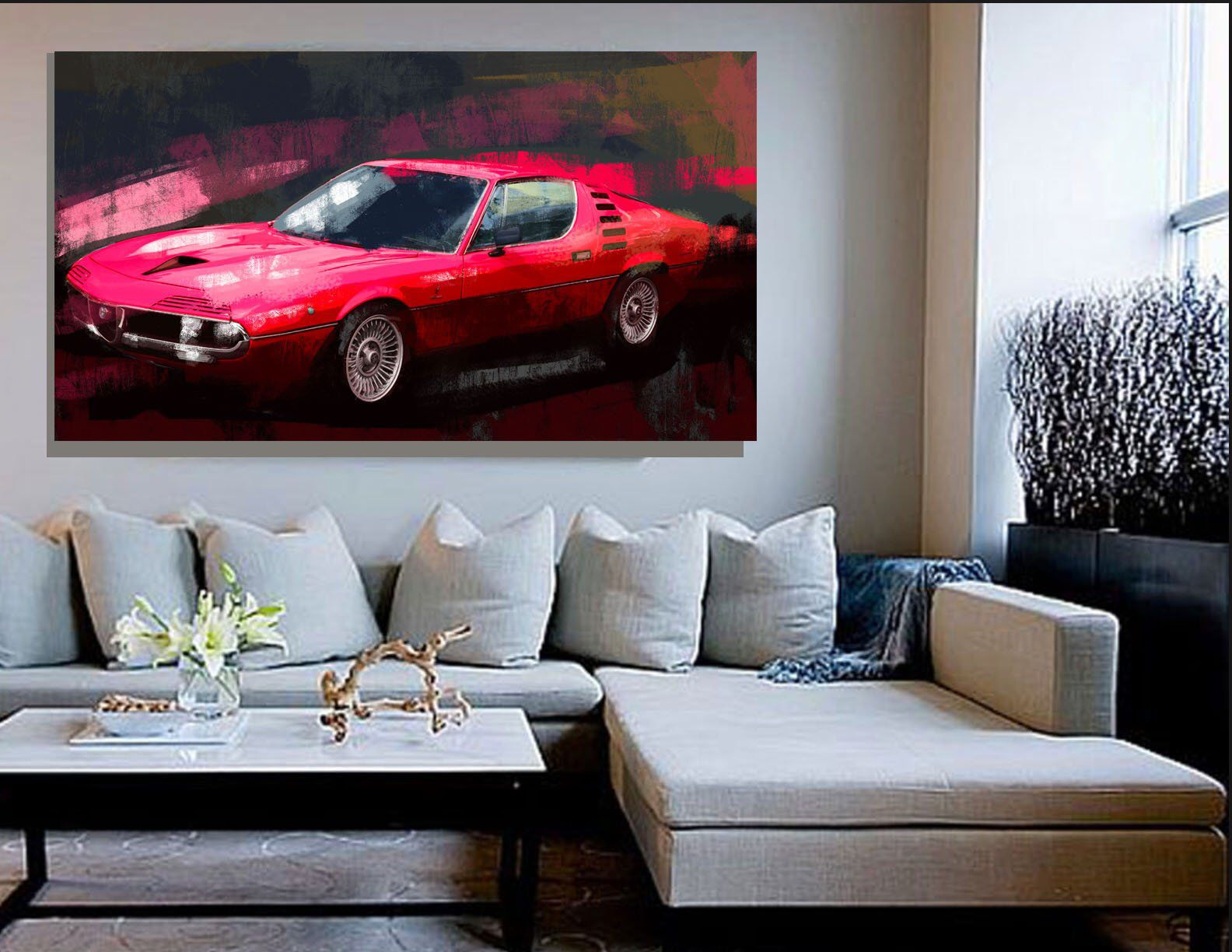 Alfa Romeo Montreal Car Art Canvas Print Or A Paper Giclee Etsy In 2020 Large Wall Decor Concept Cars Alfa Romeo