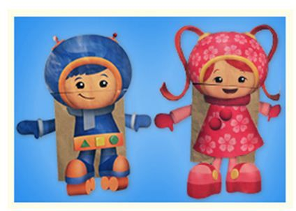Turn paper bags into Team Umizoomi's Geo and Milli with this fun craft!