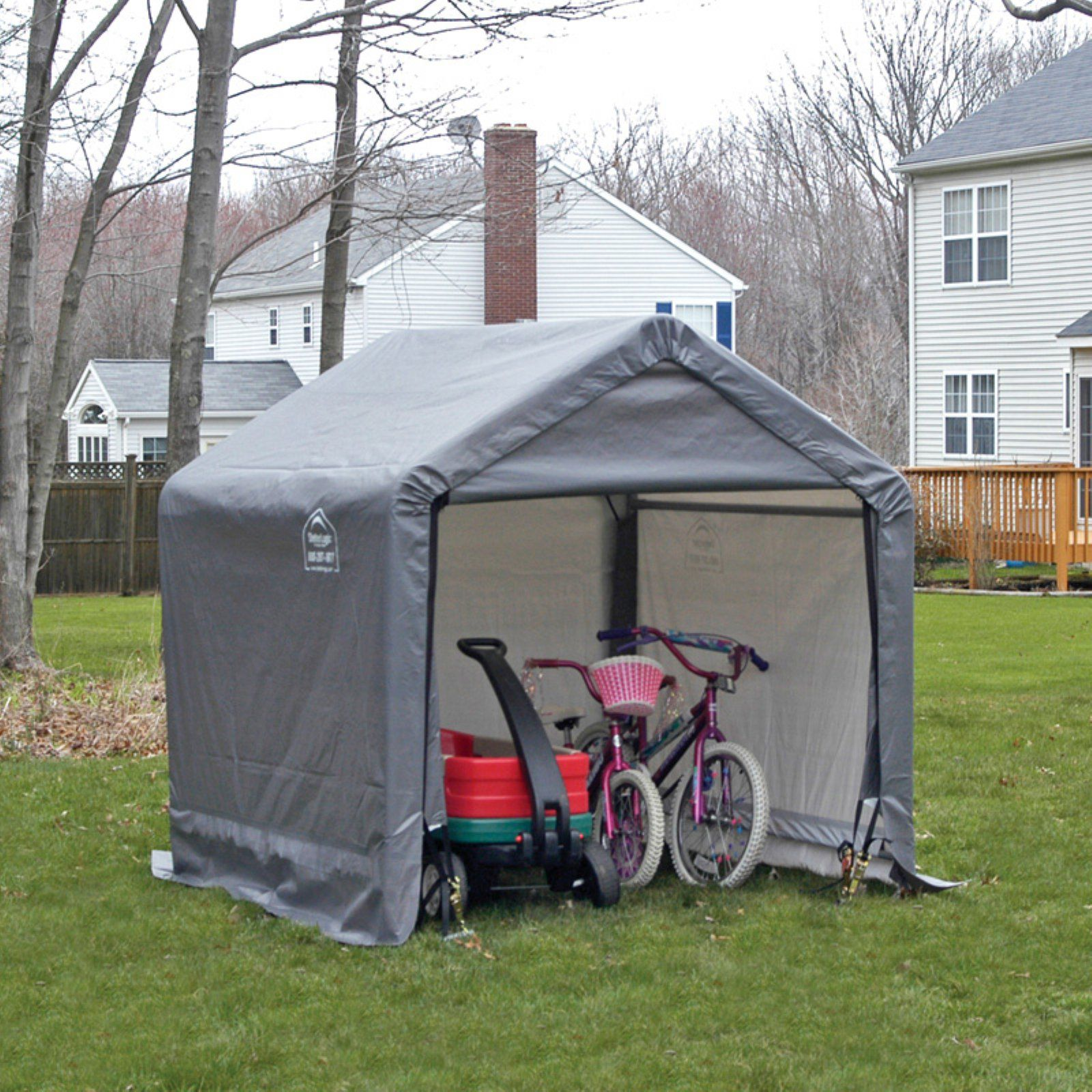 Large 10/' Gray Shed in a Box Peak Shelter Steel Frame Outdoor Backyard Storage