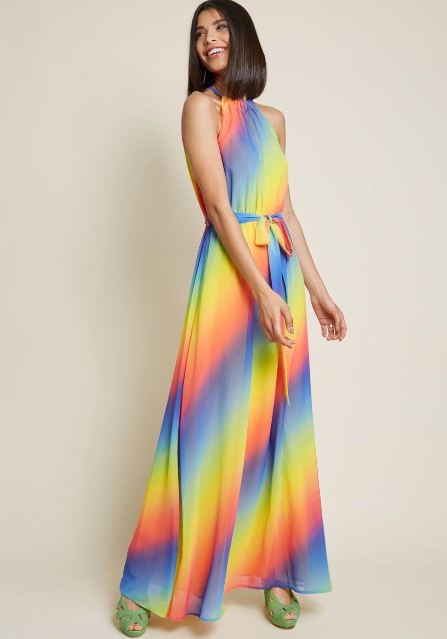 b7e52abeeed42 Illuminate Elegance Chiffon Maxi Dress in Rainbow in 2019